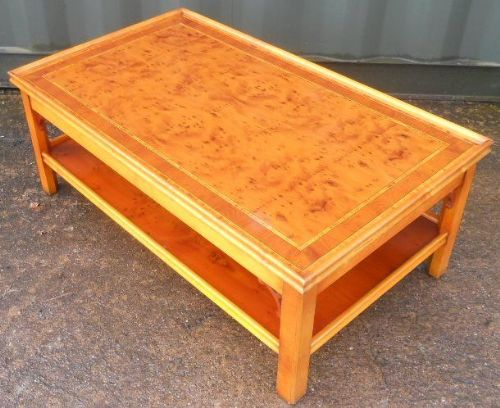 Large Yew Two Tier Coffee Table by Charles Barr